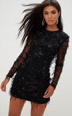Sexy Sequin Tassel Mesh Patchwork Mini Dresses MS-133