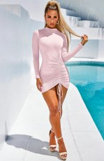 Sexy Long Sleeve Drawstring Mini Bandage Dress MZ-2479