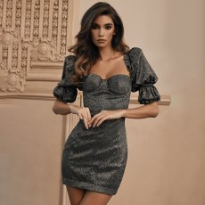 Sexy Half Puff Sleeve Bodycon Mini Dresses FL-90553
