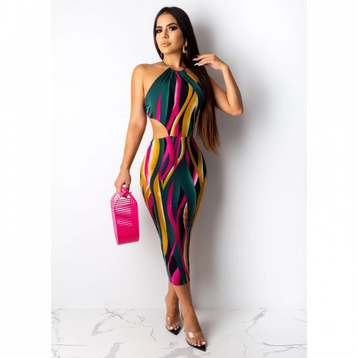 Colorful Striprs Halter Backless Bodycon Long Dress CHY-1180