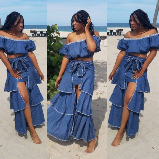 Sexy Off Shoulder Irregular Long Skirt Two Piece Sets ME-308