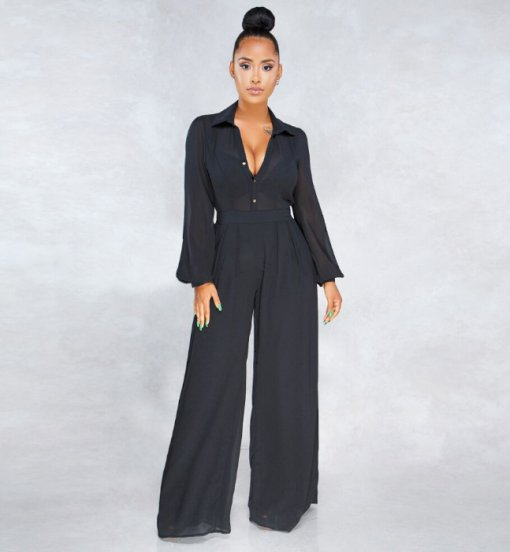 Black Full Sleeve Wide Leg Jumpsuit ORY-5041