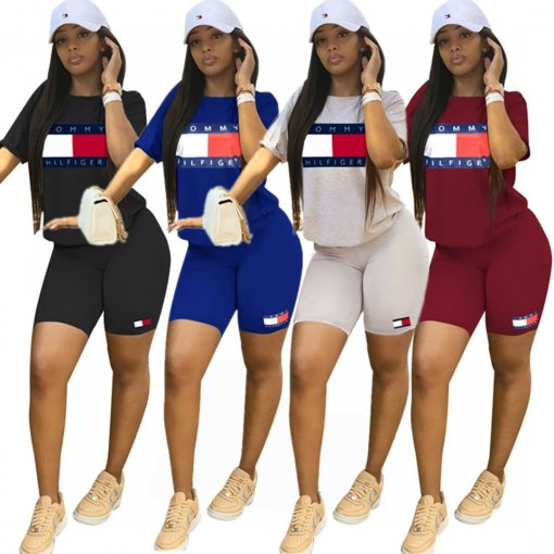 Plus Size Tracksuit Short Sleeve Two Piece Short Set PIN-8363