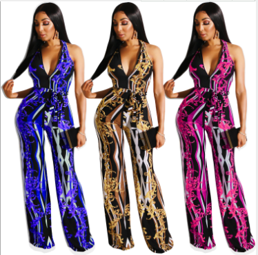 Vintage Print Sleeveless V Neck High Waist Jumpsuits LUO-6216