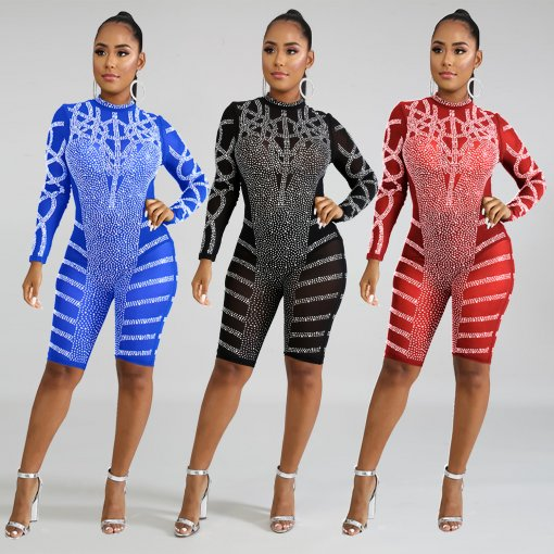 Sexy Mesh See Through Rhinestone Long Sleeve Playsuits BY-3305