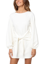 R.Vivimos Women Autumn Winter Cotton Long Sleeves Elegant Knitted Bodycon Tie Waist Sweater Pencil Dress