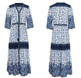 R.Vivimos Women Summer Cotton V Neck Buttons Floral Print Drawstring Bohemian Maxi Dresses