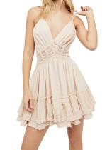 R.Vivimos Women Summer Ruffles V Neck Backless Beach Short Dresses