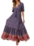R.Vivimos Womens Summer Cotton Short Sleeve V Neck Floral Print Casual Bohemian Long Dresses