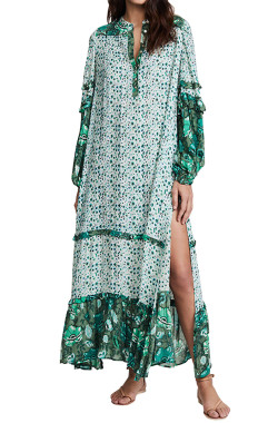 R.Vivimos Women's Long Sleeve Floral Print Bohemian Maxi Dresses with Slit