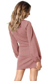 R.Vivimos Women Autumn Winter Cotton Long Sleeves Elegant Knitted Bodycon Tie Waist Sweater Pencil Dress