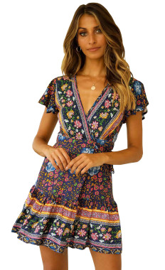 R.Vivimos Women's Summer Short Sleeve Casual Bohemian Beach Ruffle Floral Print Bow Tie Short Sun Dress