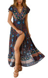 R.Vivimos Women's Summer Short Sleeve Floral Print Bohemian Beach Waist Tie Wrap Long Flowy Dress with Slit