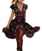 R.Vivimos Women's Summer Vintage Floral Print Deep V Neck High Low Long Dresses