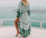 R.Vivimos Women's Long Sleeve Floral Print Bohemian Maxi Dresses with Slit