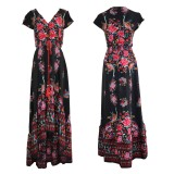 R.Vivimos Women's Summer Vintage Floral Print Deep V Neck High Low Long Dresses