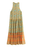 R.Vivimos Women's Summer Sleeveless Floral Print Button Up Bohemian Flowy Maxi Dresses