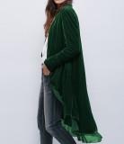 R.Vivimos Womens Ruffled Asymmetric Long Velvet Blazers Coat Casual Jackets