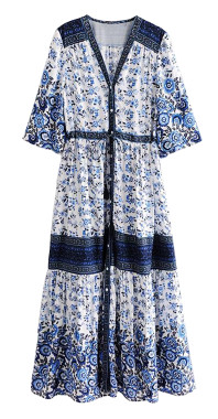 R.Vivimos Women Summer Cotton V Neck Buttons Floral Print Drawstring Bohemian Maxi Dresses