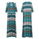 R.Vivimos Women's Summer Button Up Floral Print Split Beach Maxi Dresses