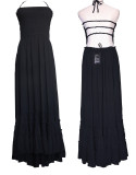 R.Vivimos Women Summer Cotton Sexy Blackless Long Dresses