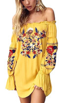 R.Vivimos Womens Floral Embroidered Off Shoulder Long Sleeve Short Dresses