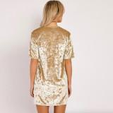 R.Vivimos Women's Summer Short Sleeve Crushed Velvet Mini Short Dresses