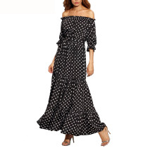 R.Vivimos Women Summer Off Shoulder Polka Dot Long Dresses