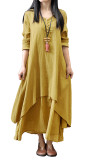 R.Vivimos Women Long Sleeve Cotton Casual Loose Plus Size Irregular Long Dresses