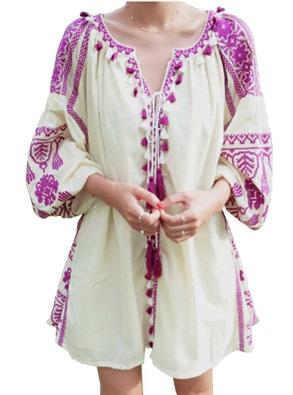R.Vivimos Women's Tassel Embroidered Short Dresses with Belt