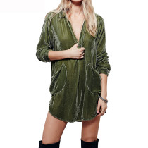 R.Vivimos Womens Velvet Long Sleeve Pocket Casual Mini Shirt Dress