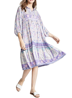 R.Vivimos Women Spring 3/4 Sleeve Cotton Floral Print Button Up Boho Casual Midi Dresses