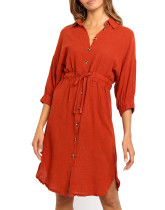 R.Vivimos Women's Summer 3/4 Sleeve Linen Button Down Casual Knee Length Dress with Tie Waist