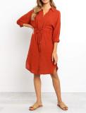 R.Vivimos Women's Summer 3/4 Sleeve Linen Button Down Casual Knee Length Dress with Tie Waist
