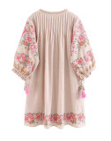 R.Vivimos Women's Autumn 3/4 Sleeve Cotton Linen Floral Embroidery Casual Tunic Dresses