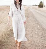 R.Vivimos Women's Chiffon Print V Neck Beach High Waist Long Dresses