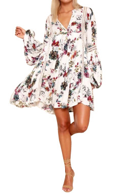 R.Vivimos Women Cotton Long Sleeve Floral Print Casual Swing Short Dresses