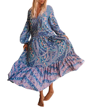 R.Vivimos Womens's Cotton Long Sleeve Vintage Floral Bohemian Beach V Neck Bottons Casual Maxi Dresses