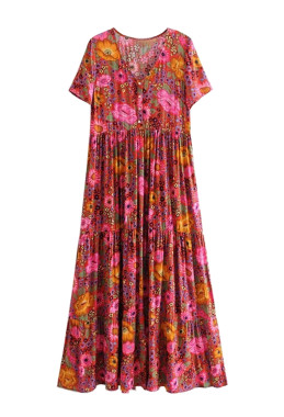 R.Vivimos Women's Short Sleeve Cotton Floral Print Bohemian Button UP Casual Long Dresses