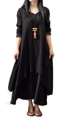 R.Vivimos Women Long Sleeve Cotton Casual Loose Plus Size Irregular Long Dresses