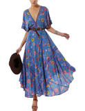 R.Vivimos Women Summer Print Deep V Neck Cotton Beach Midi Dresses