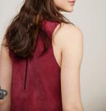 R.Vivimos Women Autumn Suede Vintage V Neck Sleeveless Pockets A Line Dresses