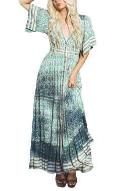 R.Vivimos Women's Summer Cotton V Neck Button Up Cardigan Floral Print Boho Maxi Dresses