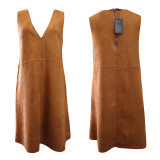 R.Vivimos Women Autumn Suede Vintage V Neck Sleeveless Pockets A Line Dresses