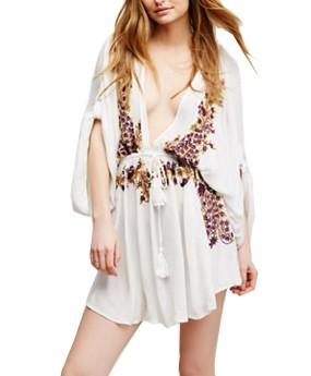R.Vivimos Women's Summer Bat Sleeves Vintage Floral Embroidered Deep V Neck Cotton Boho Swing Short Dress