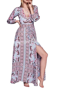 R.Vivimos Women's Retro Print V Neck Beach Maxi Dresses