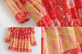 R.Vivimos Women Summer Short Sleeve Cotton Floral Print Button Up Waist Tie Short Dress