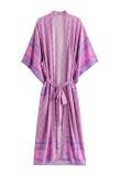 R.Vivimos Women's Vintage Floral Print Beach Boho Cardigan Kimono Maxi Swimwear Cover up Dress Wrap