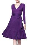 R.Vivimos Women's Autumn Long Sleeve V Neck Elegant Knitted Slim Knee-Length A-Line Sweater Dress