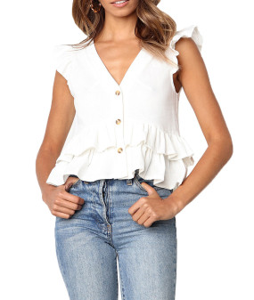 R.Vivimos Women's Summer Sleeveless V Neck Button Up Ruffles Cotton Blouse Tops